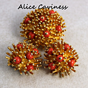 SALE Vintage Alice Caviness Sea Urchin  Brooch Earring Set