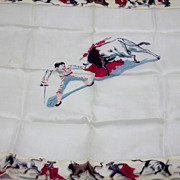 SOLD Charming Vintage Bullfighters Matadors  Scarf  Silk