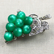 1940's Coro Green Moonglow Rhinestone Grapes Brooch Pin