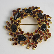 Vintage Swoboda Signed Garnet Stone Wreath Brooch Pin