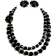 Vintage Black Faceted Beaded and Rhinestone 2 Strand Necklace Earring Set