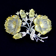 Marboux  Pale Yellow Lucite and Rhinestone Brooch Pin