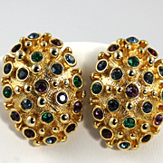 Vintage  Jeweled  Rhinestone Earrings