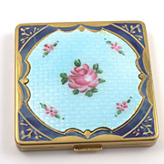 SOLD Vintage Guilloche Powder and Rouge Compact by Hinge Co.