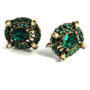 SALE PENDING Vintage Hollycraft Emerald Green Rhinestone Earrings