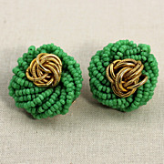 Vintage Marvella Green Seed Bead Clip  Earrings