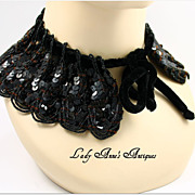 SOLD 1930's Black Beaded Velvet Peter Pan Collar Necklace