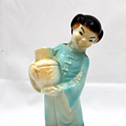 SALE Royal Copley Asian Girl Figurine Holding Yellow Jug