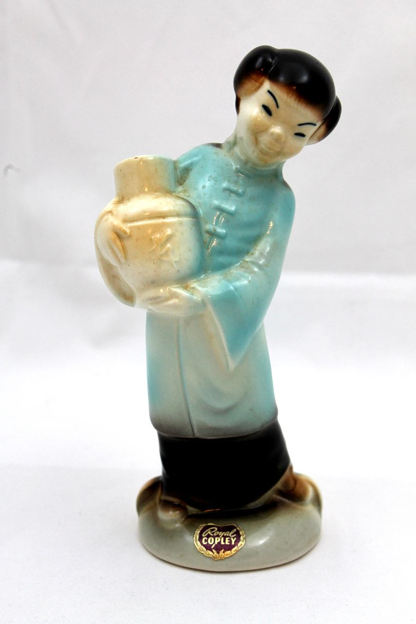 Royal Copley Asian Girl Figurine Holding Yellow Jug