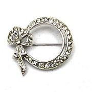 SALE Vintage Round Diamante  Rhinestone Brooch / Pin Signed ORA