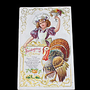 Vintage Thanksgiving Menu Turkey Postcard