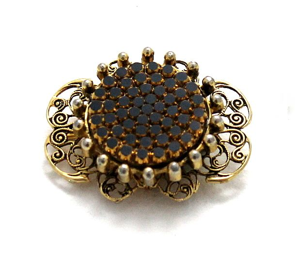 Unique Vintage French Filigree Pave Set Dimensional Brooch / Pendant
