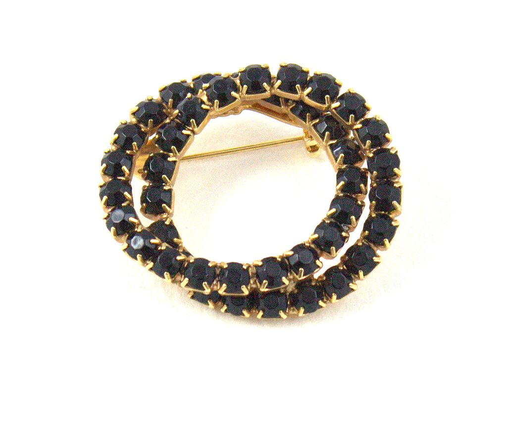 Classic Vintage Black Rhinestone Double Circle Eternity Brooch / Pin