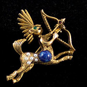 SALE Charming  Simulated Pearl  Zodiac  Sagittarius  Figural Pin /Brooch