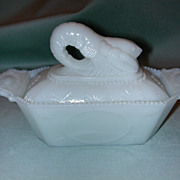 Westmoreland Crawfish Milk Glass Covered Dish.