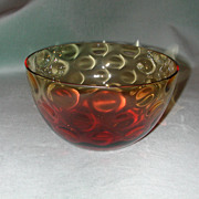 Reverse Amberina Thumbprint Bowl.