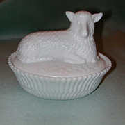 SALE Rare McKee Woolly Lamb Milk Glass Covered Dish.