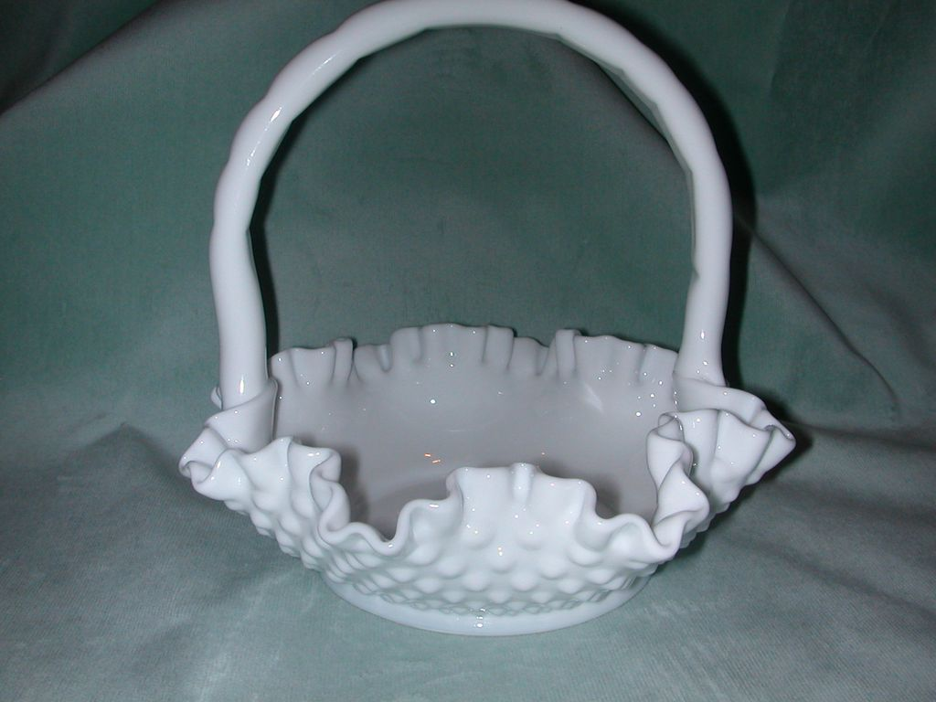 Fenton White Hobnail Milk Glass Basket.