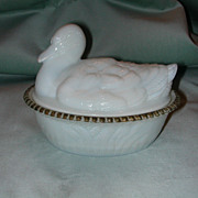 Duck On Reed Base Milk Glass Covered Dish.