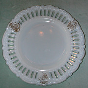 Kemple Panel Peg Open Edge Milk Glass Plate.