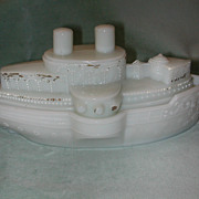 Battleship Maine Milk Glass Covered Dish.