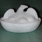 The American Hen Milk Glass Covered Dish.