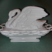 Westmoreland Raised Wing Swan Milk Glass Covered Dish.