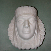 Challinor, Taylor Indian Head Milk Glass Match Holder.