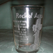 "Crystal Etched ""Rock of Ages"" Motto Tumbler."