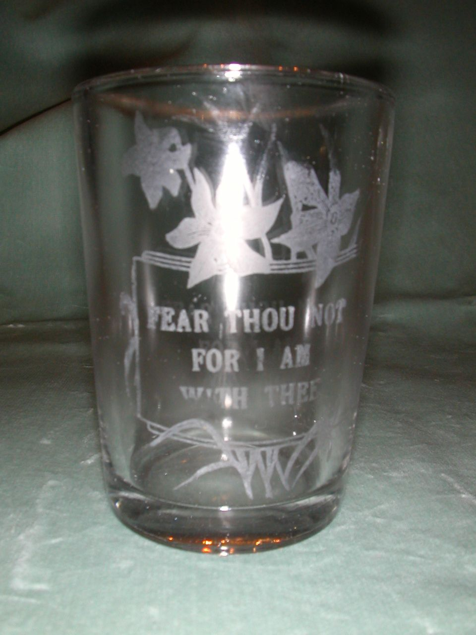 "Crystal Etched ""Fear Not"" Motto Tumbler."