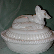 Kemple Milk Glass Fox Covered Dish.