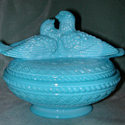 Westmoreland Blue Milk Glass Lovebirds Covered Dish.
