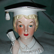 Napco Graduation Girl Head Vase.