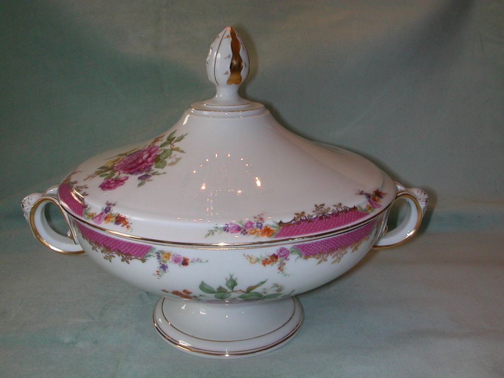 Rosenthal Queens Rose Footed Covered Vegetable Bowl.