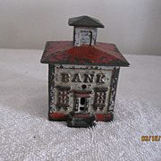 Antique Cast Iron Toy Safe in shape of a Bank