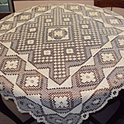 Handmade Filet Lace Tablecloth Geometrical Dimensional Pattern