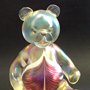 Stewart Abelman signed Iridescent Feather Art Glass Bear