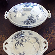 Blue Java Transferware Soup Tureen and Plate Aesthetic Movement  c 1880's