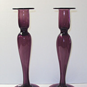 Dorflinger Amethyst Glass Candlesticks rare
