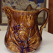 Bennington - Rockingham Pottery Pitcher Jug Tulip Pattern