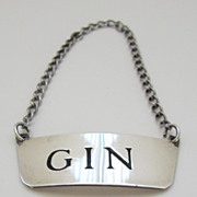 Handsome American Sterling Silver Liquor Decanter Tag with Chain
