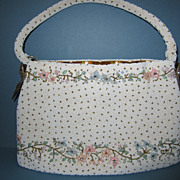 Exquisite Vintage Floral Glass Micro Bead Handbag or Purse