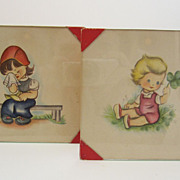 Charming  Vintage Watercolor of  Toddler and Young Girl 1930's