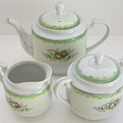 Delightful Occupied Japan Porcelain Tea Set with Florals