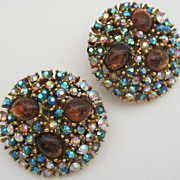 Sparkling Vintage Signed Glass Cabochon and AB Rhinestone Earrings