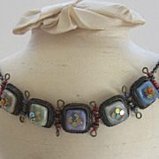 Charming Vintage Embellished Glass Link &quot;Petit Four&quot; Necklace