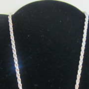 Beautiful Vintage Sterling Silver Rope Chain Necklace