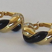 Lovely Vintage Gold Tone Black Enamel and Rhinestone Pierced Earrings