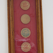 Framed Vintage Sambo's Wooden Tokens