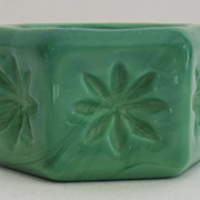 Delightful Vintage Green Slag Glass Salt Cellar
